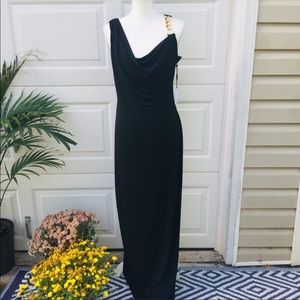 Calvin Klein Black Draped Dress with Chain Detail